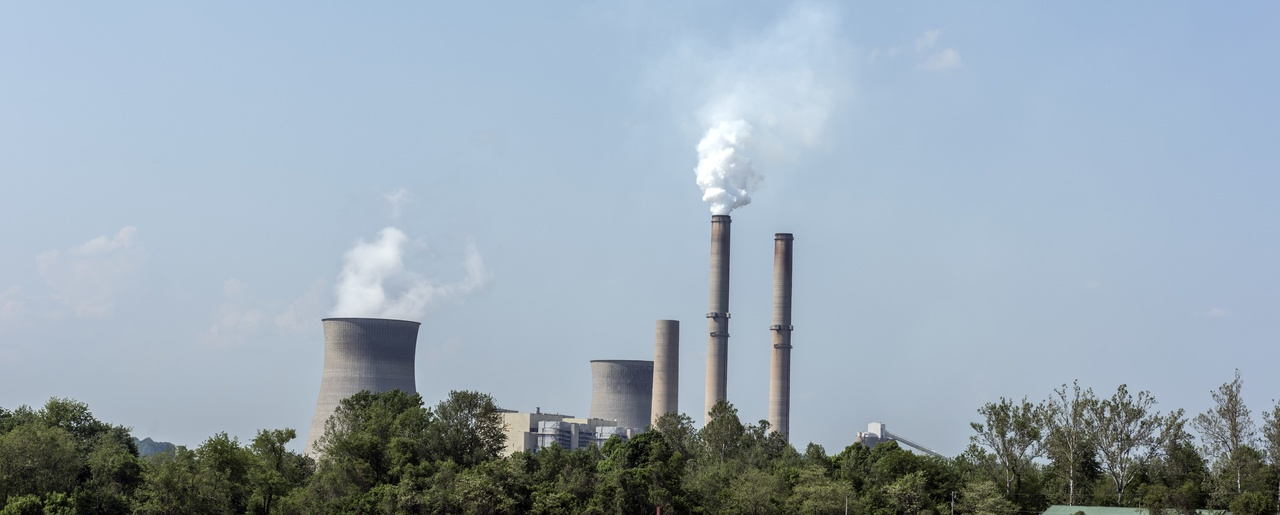 Smokestacks and cooling towers at a power plant