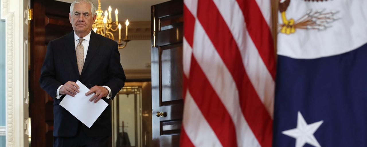 Rex Tillerson Walks To Speak At A News Conference
