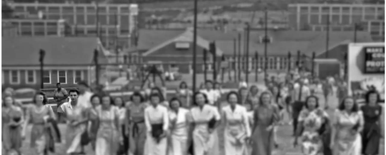 "A 1945 photo of the ""Calutron Girls"" of the Y-12 Nuclear Security Complex at Oak Ridge, Tennessee includes only one Black employee, despite the instrumental role of Black women at the facility. The image has been altered to bring focus to her."