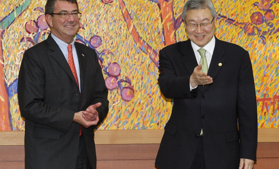 2012: South Korean Foreign Minister Kim Sung-hwan (right) greets then U.S. Deputy Secretary of Defense Ash Carter before their meeting at the Foreign Ministry in Seoul on July 26, 2012.