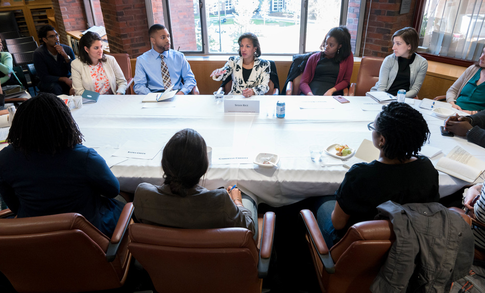 Susan Rice, former National Security Advisor to President Obama, former U.S. Permanent Representative to the UN, and Belfer Center non-resident Senior Fellow, gives students and fellows career advice during a Belfer Center student and fellows session.