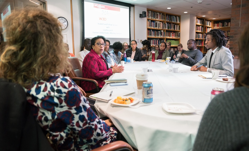 Loretta Lynch, former Attorney General of the United States, speaks on the issues she faced during her time as the U.S. Attorney General during a Belfer Center student and fellows session.