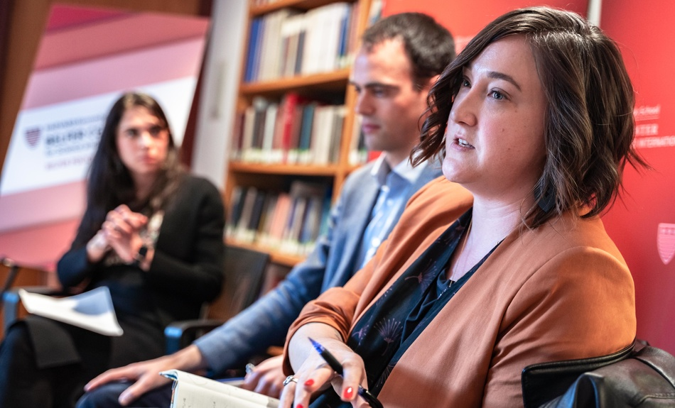 "James Shires, Fellow, Cyber Project, Vanessa Rhinesmith, Associate Director, digitalHKS, and Aditi Kumar, Executive Director, Belfer Center, hold a lively discussion on ""Can We Write Human Rights Into the Internet?"" during a Belfer Policy Chats event."