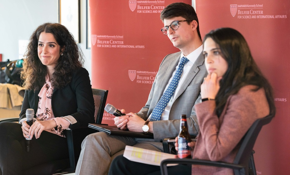 "Sahar Nowrouzzadeh, Research Fellow with the Iran Project and an Associate with the Project on Managing the Atom, Reid Pauly, Fellow with the International Security Program and the Project on Managing the Atom, discuss ""Coercion, Diplomacy, and Nuclear Weapons: Eyes on Iran."""