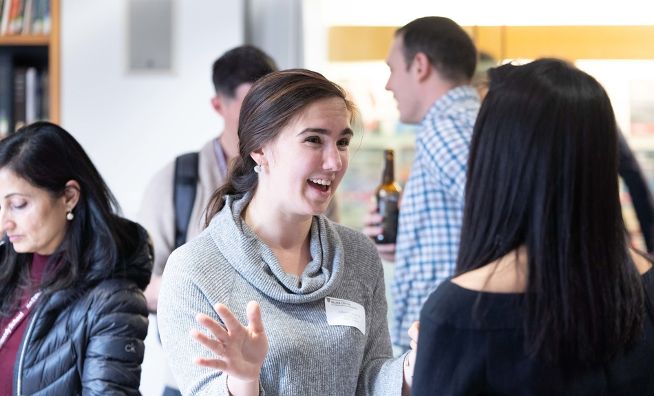 New admitted students attend an informational meet-and-greet hosted by the Belfer Center.