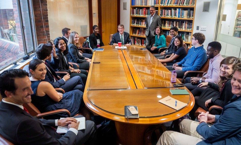 Belfer IGA Fellows are welcomed to the Belfer Center for Science and International Affairs by Ash Carter, Director and Eric Rosenbach, Co-Director