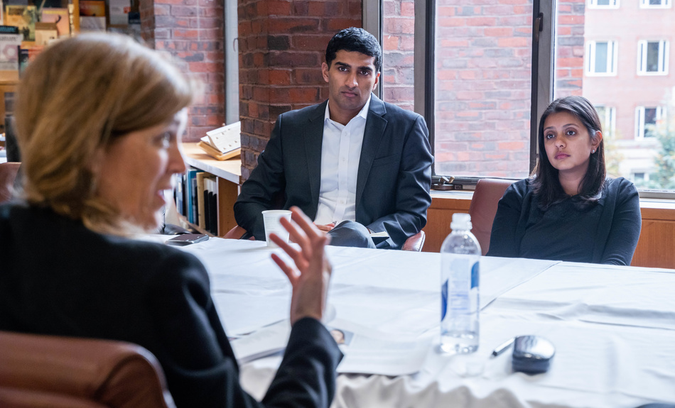 Samantha Power the Anna Lindh Professor of the Practice of Global Leadership and Public Policy meets with Belfer IGA Fellows