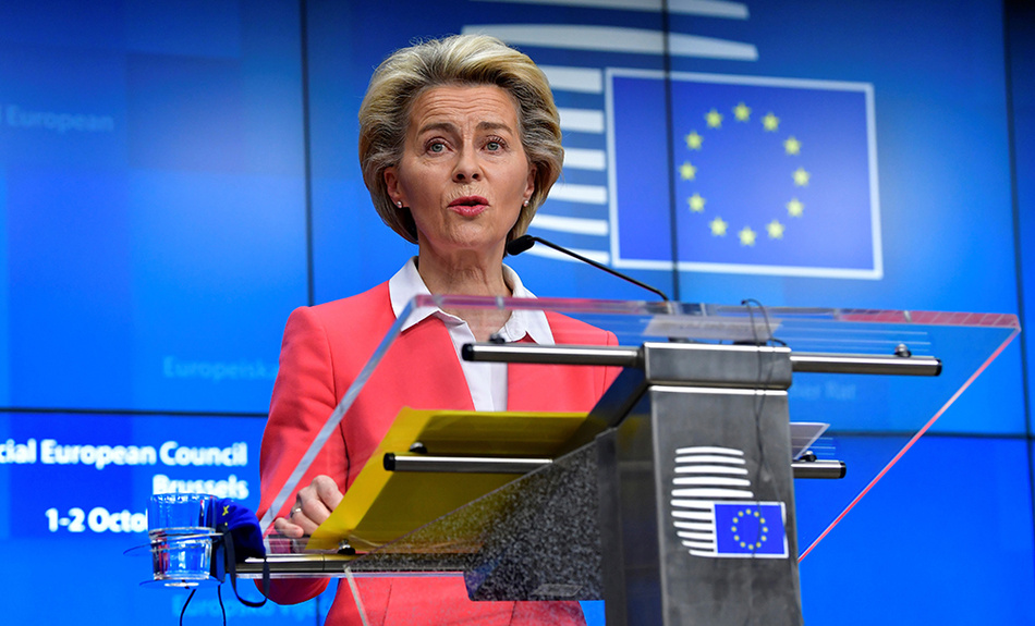 European Commission President Ursula von der Leyen speaks during a press conference at an EU summit in Brussels, Friday, Oct. 2, 2020.