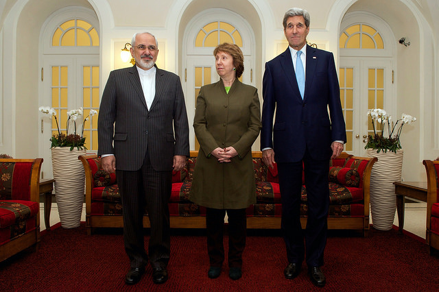 November 20, 2014 – Iranian Foreign Minister Zarif, Baroness Ashton, amd Secretary Kerry before beginning second round of three-way nuclear talks in Vienna, Austria.