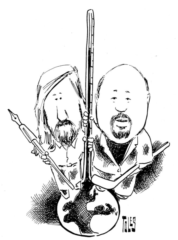 Cartoon of Mann and Toles holding a thermometer.