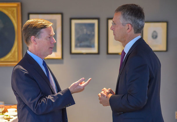 NATO Secretary General Jens Stoltenberg talks with Future of Diplomacy Project Faculty Director Nicholas Burns, before Stoltenberg's presentation on the evolution of NATO and its response to 21st century challenges at the Harvard Kennedy School.