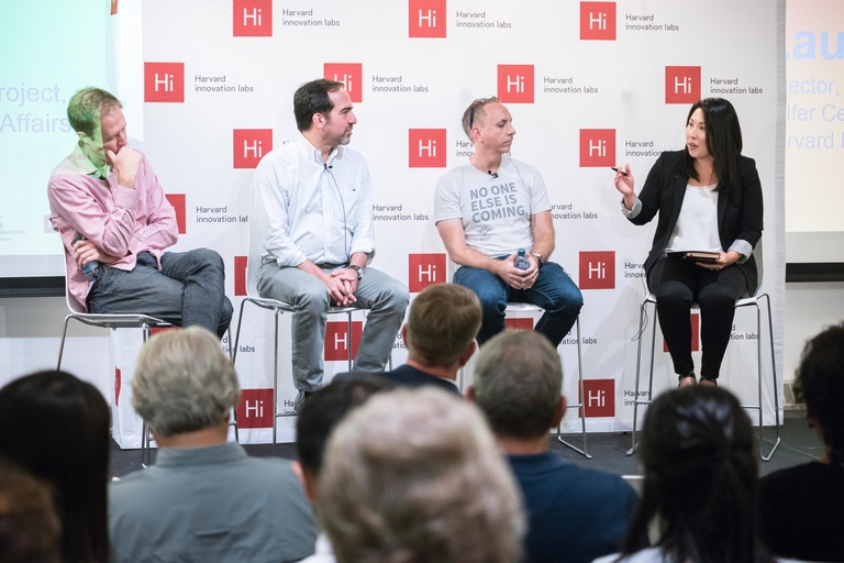 TAPP Director Laura Manley makes a point about emerging technologies during a HUBweek event in October. Panelists included (left to right) Harvard's David Eaves, Kyruus's Steve Strassmann, and Defense Digital Service's Chris Lynch​​​​​​​.