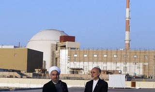 Rouhani and Salehi outside the Bushehr Nuclear Plant
