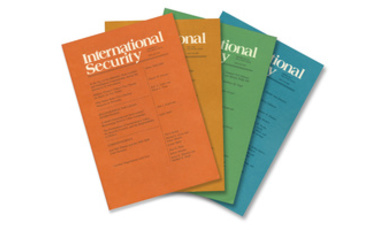 Colorful book fan of International Security journal covers