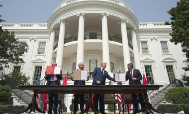 President Donald Trump, center, with from left, Bahrain Foreign Minister Khalid bin Ahmed Al Khalifa, Israeli Prime Minister Benjamin Netanyahu, and United Arab Emirates Foreign Minister Abdullah bin Zayed al-Nahyan, during the Abraham Accords signing ceremony on the South Lawn of the White House, Tuesday, Sept. 15, 2020, in Washington.