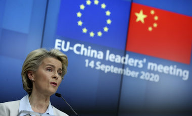 European Commission President Ursula von der Leyen talks during an online press conference with European Council President Charles Michel and German Chancellor Angela Merkel following an EU-China virtual summit at the European Council building in Brussels, Monday, Sept. 14, 2020. Michel, Merkel and Von der Leyen had talks in a videoconference with China's President Xi Jinping.