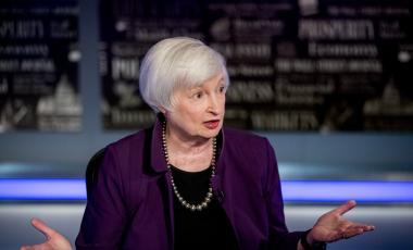 Former Fed Chair Janet Yellen appears for an interview with FOX Business Network guest anchor Jon Hilsenrath in the Fox Washington bureau, Wednesday, Aug. 14, 2019, in Washington.