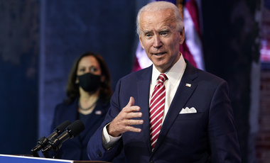 President-elect Joe Biden, accompanied by Vice President-elect Kamala Harris, speaks about economic recovery at The Queen theater, Monday, Nov. 16, 2020, in Wilmington, Del.