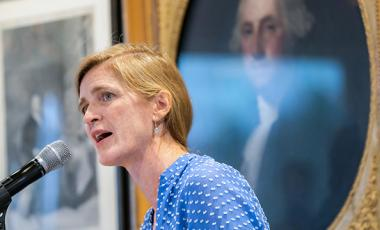 Samantha Power speaking at a Belfer Center event.