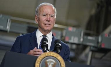 President Joe Biden speaks at Tidewater Community College, Monday, May 3, 2021, in Portsmouth, Va.