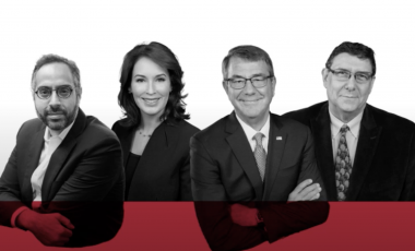 Graphic of Tarek Masoud, Meghan O'Sullivan, Ash Carter, and Tony Saich