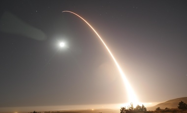 An unarmed Minuteman III intercontinental ballistic missile launches during an operational test at Vandenberg Air Force Base in California. May 3, 2017.