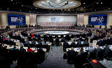 President Barack Obama makes opening remarks to world leaders during the plenary session of the Nuclear Security Summit in Washington, Friday, April 1, 2016.