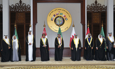 GCC leaders pose during the Arabian Gulf countries summit in Manama, Bahrain