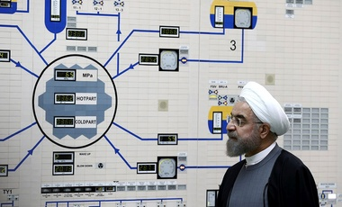 Iranian President Hassan Rouhani visits the Bushehr nuclear power plant just outside the port city of Bushehr, southern Iran.