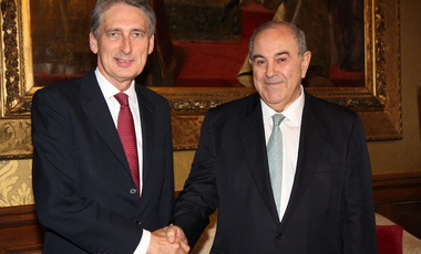 Former Foreign Secretary Philip Hammond meeting Iraqi Vice President Dr Ayad Allawi in London, 6 October 2014.