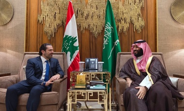 In this Monday, Oct. 30, 2017 file photo, released by Lebanon's official government photographer Dalati Nohra, Saudi Crown Prince Mohammed bin Salman, right, meets with Lebanese Prime Minister Saad Hariri in Riyadh, Saudi Arabia.