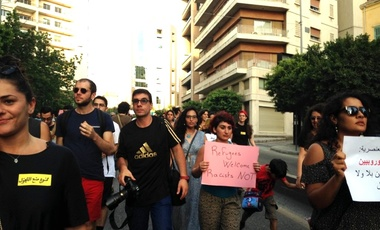 Protesters march against curfews imposed on Syrian refugees in Beirut during July 2016.