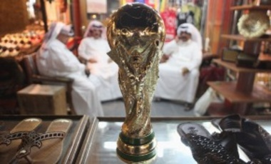 A replica of the FIFA World Cup trophy in the Souq Waqif traditional market in Doha, Qatar.