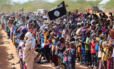 Al-Shabab communal prayers and public celebrations marking the Eid al-Adha holiday in the Islamic lunar year of 1438 in the Galguduud region of central Somalia in June 2017.