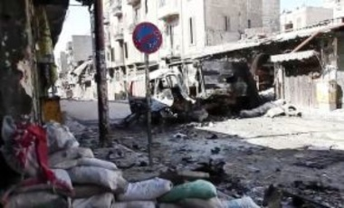 Bombed out vehicles in Aleppo during the Syrian civil war, October 6, 2012.