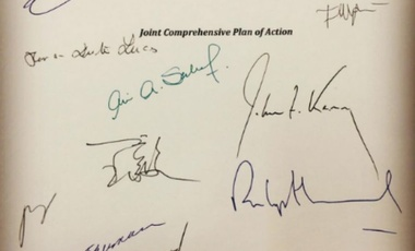 Signatures on the Joint Comprehensive Plan of Action (JCPOA) document.