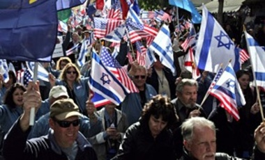 Christians in support of Israel march in Jerusalem, Apr. 7, 2008. U.S. Evangelist John Hagee, a Christian Zionist, brought hundreds of backers on a solidarity trip to Israel.