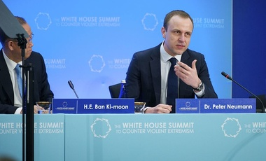 Dr. Peter Neumann, Director of the International Centre for the Study of Radicalization in the United Kingdom, addresses the White House Summit to Counter Violent Extremism's first session — Understanding Violent Extremism Today — at the U.S. Department of State in Washington, D.C., on February 19, 2015.