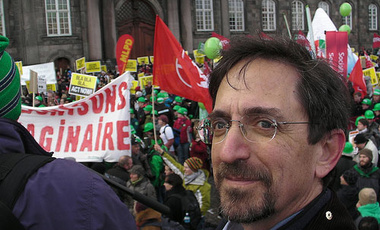 Andy Revkin covering demonstrations on the international day of climate action in Copenhagen.