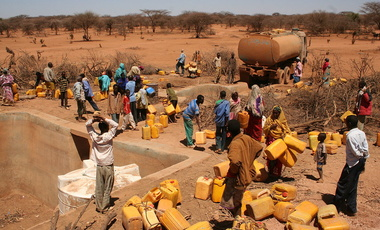 Oxfam distributing water in the Horn of Africa during a severe drought, 24 February 2011.