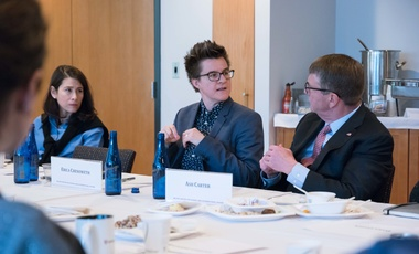 Erica Chenoweth, HKS Professor of Public Policy (center), talks with Belfer Center Director Ash Carter (right).