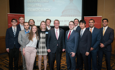 "Defending Digital Democracy ""Hackathon"" finalists with Belfer Center Director and former Secretary of Defense Ash Carter​​​​​​​"