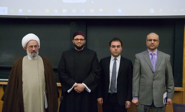 Belfer Center Iran Project Director Payam Mohseni (2nd from right) with (from left) Sheikh Fadhel Al-Sahlani (Rep. of Grand Ayatollah Ali al-Sistani in North America), Shaykh Yasir F. Fahmy (Islamic Center of Boston), and Imam Khalid Nasr (Islamic Center of New England) at the Islam Symposium in April.