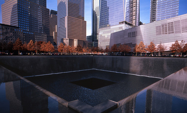 One of the two reflecting pools built in the footprints of the Twin Towers to memorialize the September 11th attacks.