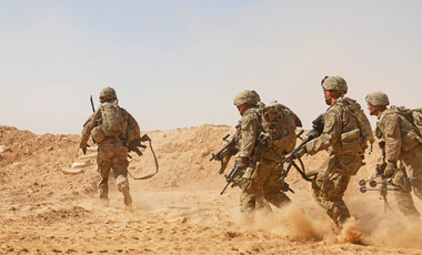 Photo of U.S. soldiers during live-fire training near Al Asad Air Base, Iraq, Sept. 26, 2018.