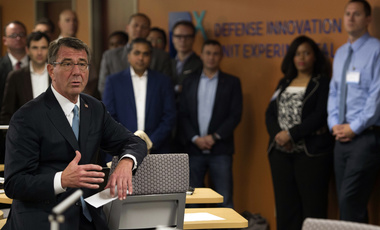 Innovation Experimentation: Then-Secretary of Defense Ash Carter speaks with Defense Innovation Unit Experimental employees as he arrives at Moffett Field, Calif., May 11, 2016.