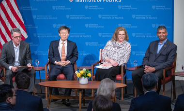 Eric Rosenbach (left), Belfer Center Co-Director, moderates a JFK Jr. Forum event with former ROK Foreign Minister Yoon Young-kwan, former U.S. Ambassador to ROK Kathleen Stephens, and former U.S. Forces Korea Commander General Vincent Brooks.