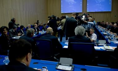 The main hall for the IAEA's Talks on Supplying Nuclear Fuel for Iranian Research Reactor, Vienna, Austria, 19 October 2009.