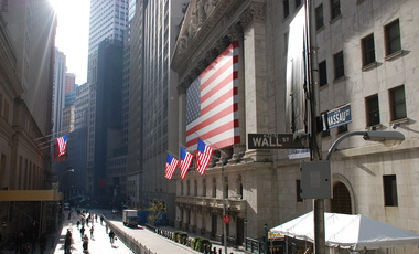 The New York stock exchange on Wall Street