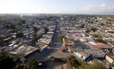 An aerial view of the main entrance to the Cite Soleil area of Port-au-Prince, Haiti, Tuesday, Dec. 11, 2018.